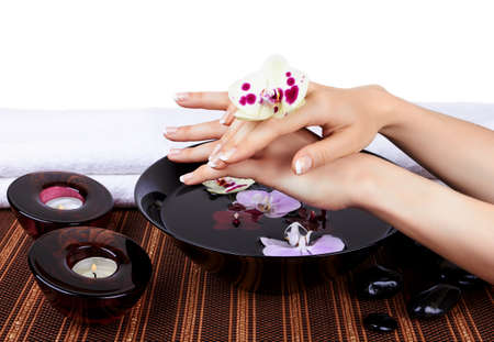 Woman s hands with orchids and bowl of water on white photo