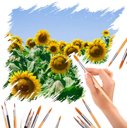 hand with panit brushes painting a beautiful summer landscape with sunflowers photo