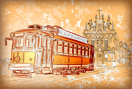 Vector illustration of street tram in Porto, Portugal  illustration
