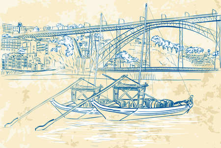 illustration of rabelo boats in Porto, Portugal  Vector