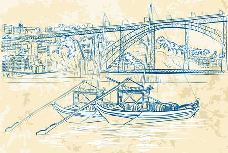 rabelo: illustration of rabelo boats in Porto, Portugal