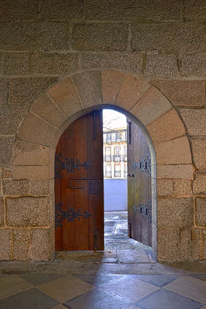 peloponissos: Door at castle in Guimaraes, Portugal