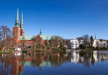 trave: Trave river, old town of Lubeck, Germany