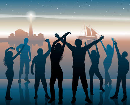 dancing people: Night beach party background