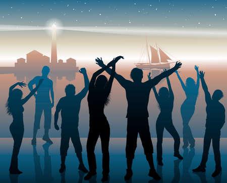 persone che ballano: Notte beach party background Vettoriali