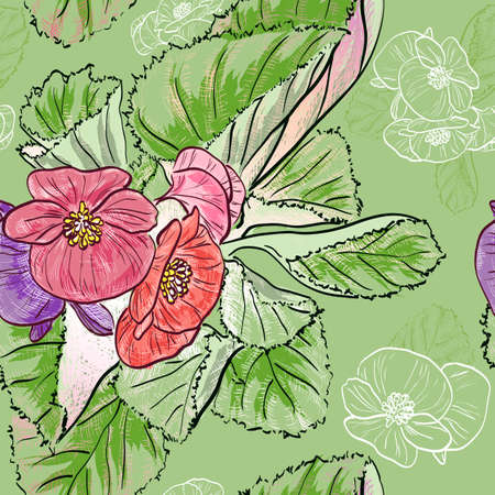 begonia: Seamless pattern with Hand drawing begonia flowers