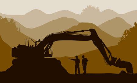 sandpit: Cargador del excavador y de los trabajadores en la mina Vectores