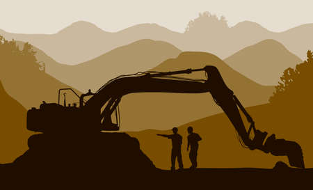 Excavator loader and workers at mine Stock Vector - 26370825