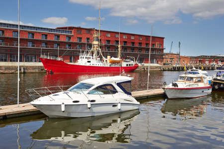 trave: Boats on River Trave, Lubeck, Germany  Stock Photo