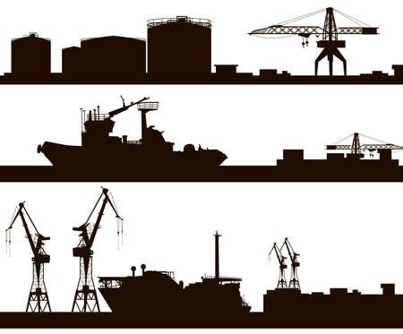 港のスカイライン シルエット  イラスト・ベクター素材