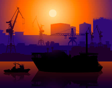 Working cranes and tug in sea port Vector