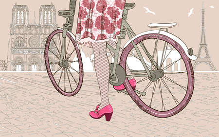 Woman riding a bicycle in Paris Vector