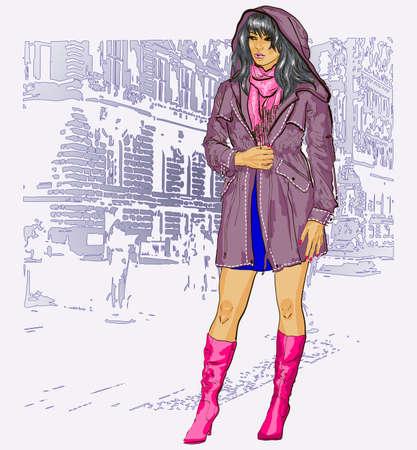 Pretty fashion girl  Vector