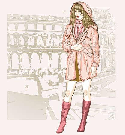 Pretty fashion girl in sketch style Vector
