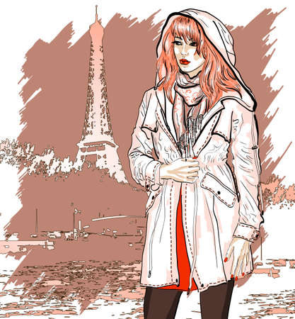 Hand drawn illustration with a fashion girl Vector