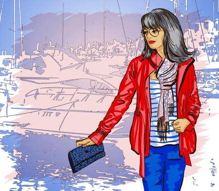 scarf beach: Beautiful woman on pier