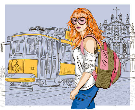 Fashion girl and old tram Vector