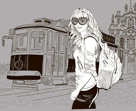 Fashion girl and old tram, urban scene Vector