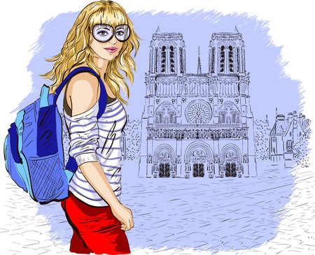 Fashion girl in Paris against notre dame de paris Vector
