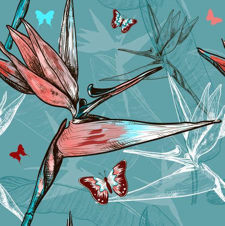ave del paraiso: ave del paraíso, flores, seamless, patrón