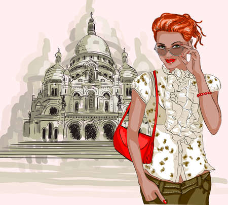 Pretty fashion girl on a Basilique Du Sacre Coeur  Vector
