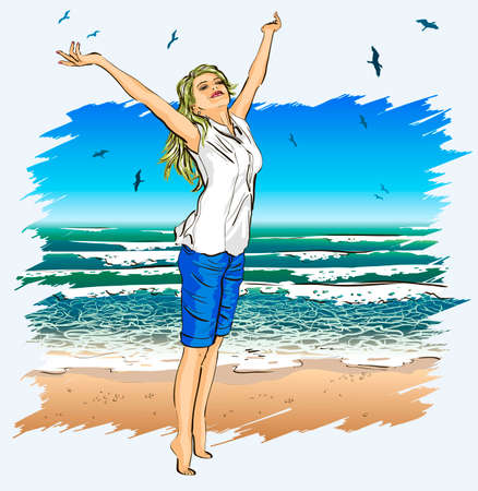 arms outstretched: Beautiful girl with arms outstretched on a tropical beach