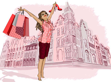 Fashion girl with shopping bags on a city Vector