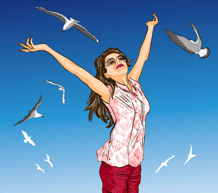 outstretched: beautiful girl with arms outstretched on blue sky and flying birds  Illustration