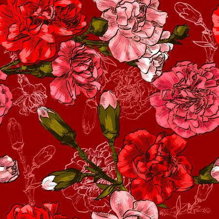Seamless with pink flower carnation
