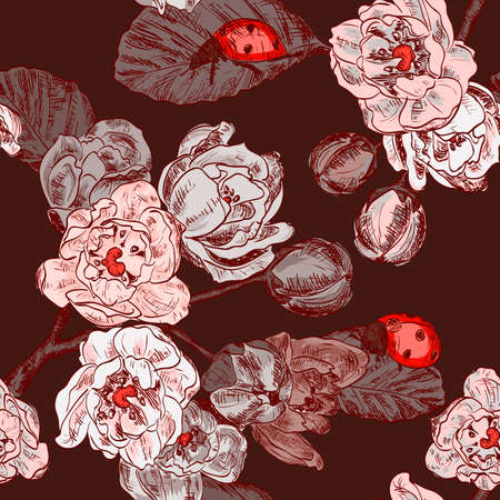 ladybird: seamless pattern with flowers and ladybird