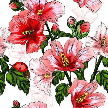 ladybird: Vector seamless pattern with red Hibiscus flowers and ladybird