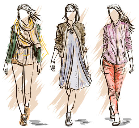 Vector Sketch of Fashion models Illusztráció