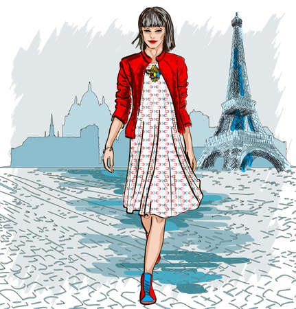 frenchwoman: Fashion woman and Paris skyline Illustration