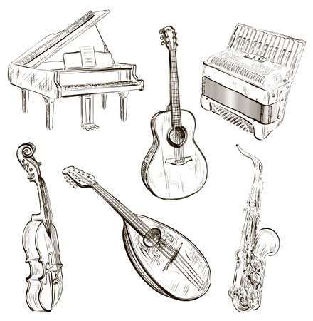 Vector illustration of musical instruments in sketch-style