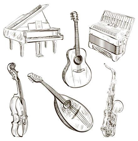 Vector illustratie van muziekinstrumenten in schets-stijl