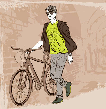 bike riding: Vector illustration of cyclist man