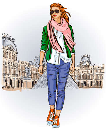 Young girl in sketch-style on a french background Vector