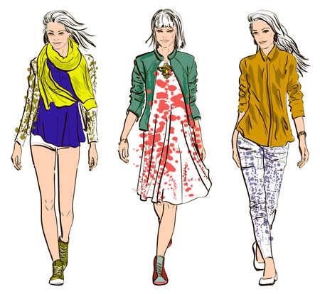 Sketch de los modelos de moda Foto de archivo - 28499469