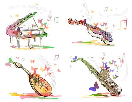 Musical instruments in abstract style Vector