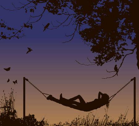 lying in: Relaxing woman lying in hammock under trees