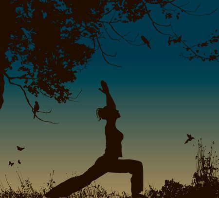 yoga outside: yoga pose at sunset