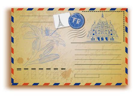 vintage postcard met Sacre Coeur Stock Illustratie