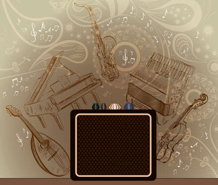 accordion: Abstract brown with musical instruments Illustration