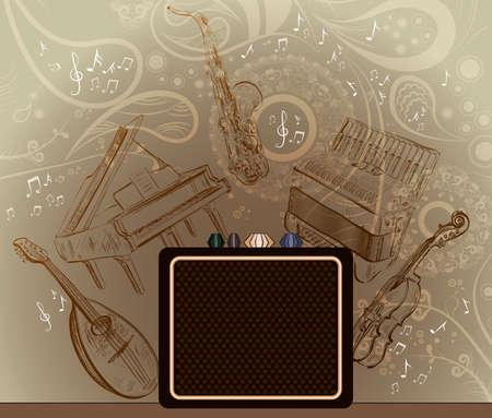 acordeón: Marrón de fondo con instrumentos musicales