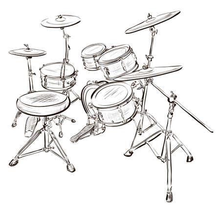 drum kit: Vector illustration of drum kit