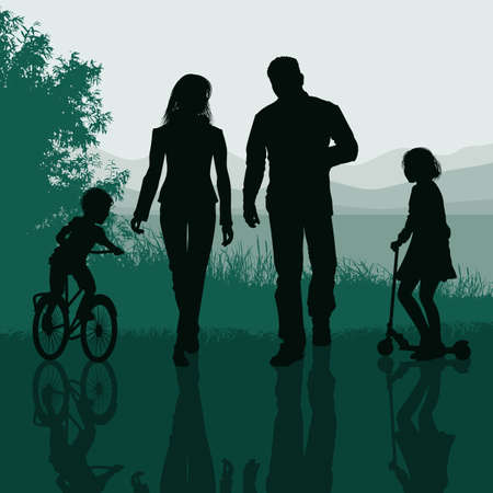 Family walking in a park Vector