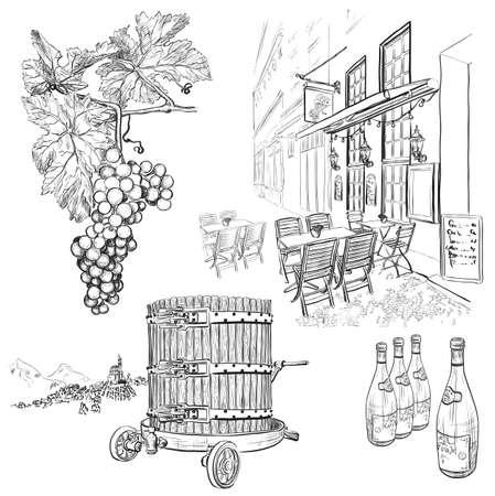 Dibujado a mano set vector vino