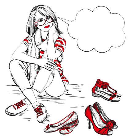 belle brunette: Belle jeune femme avec des chaussures de mode Illustration