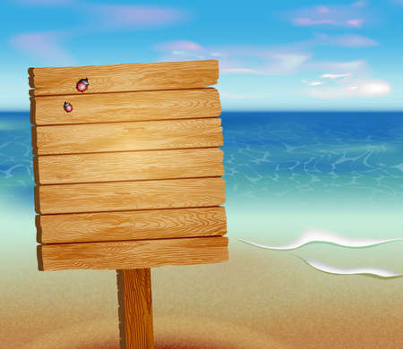 tropical beach: Tropical beach with a wooden sign