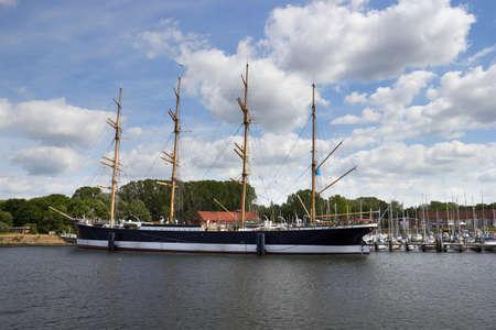 anchoring: barque Passat at the harbor of Lubeck-Travemunde